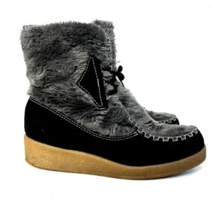 Snowland Vintage Leather Faux Fur Wedge Boots